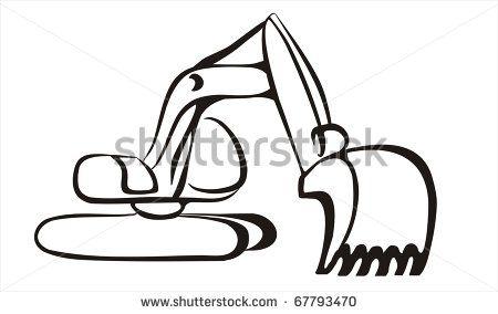 Excavator clipart sketch. Icon in black lines