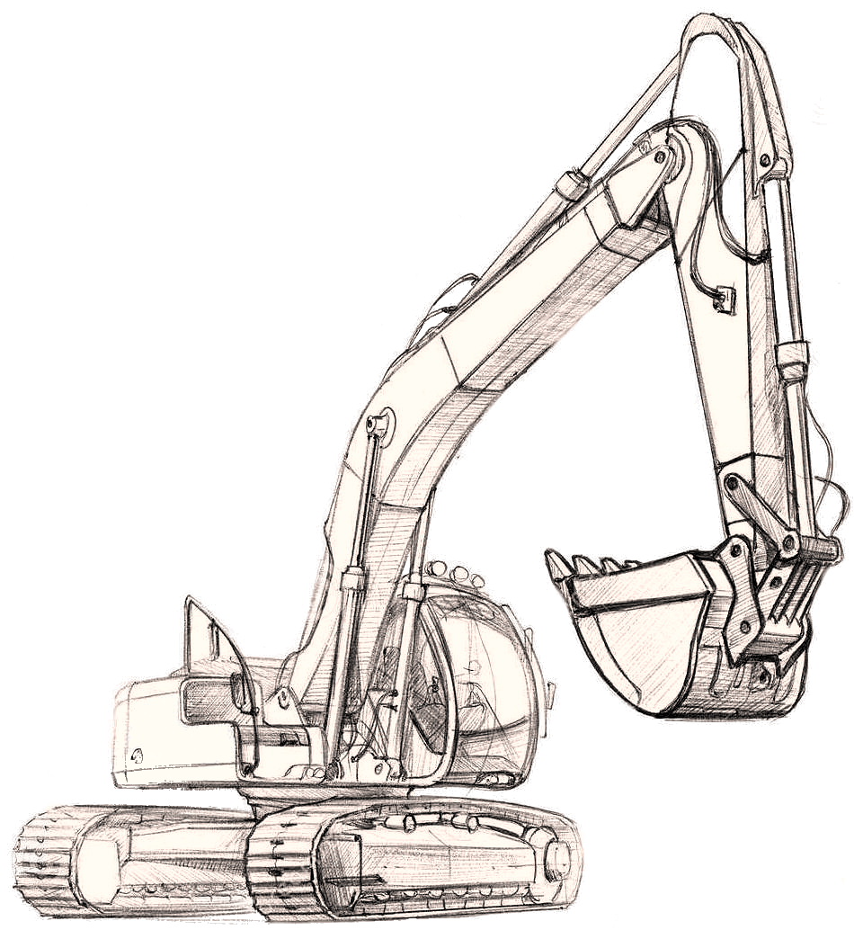 Excavator clipart sketch.  collection of cat
