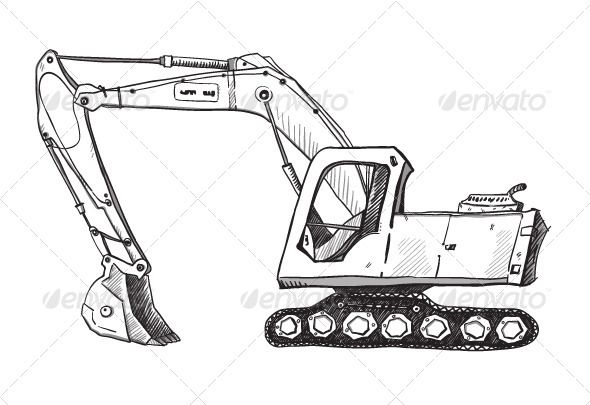 Pin by sherrill stegall. Excavator clipart sketch