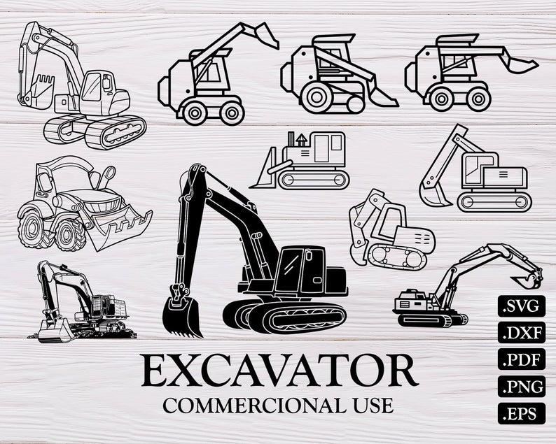 Excavator clipart svg. Construction tractor digger bulldozer