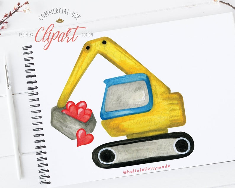 Excavator clipart valentine. Heart watercolor construction png