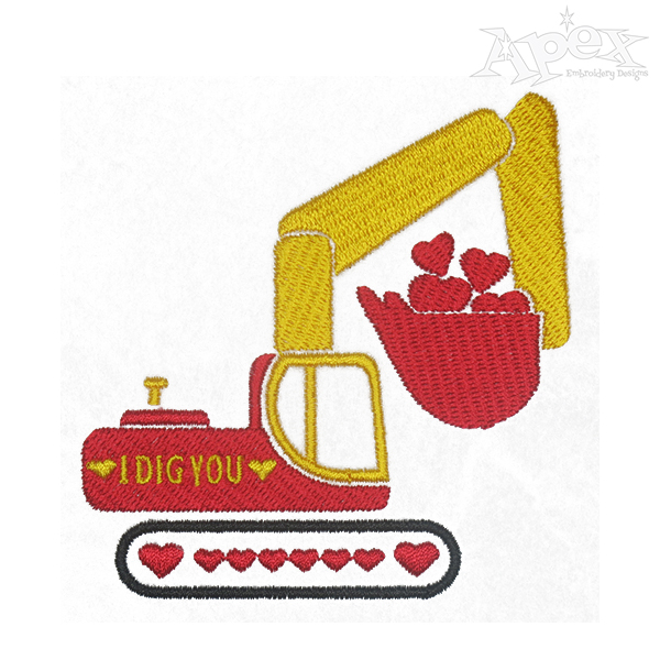 Excavator clipart valentine. Heart and embroidery design