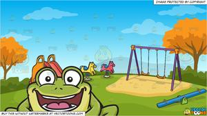 Excited clipart big kid. A curious and frog