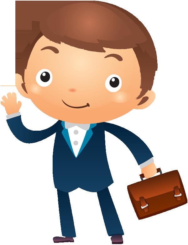 Portfolio designshop page cartoon. Excited clipart businessman