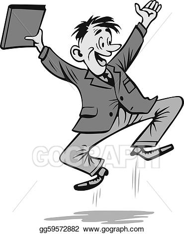Vector art eps gg. Excited clipart businessman