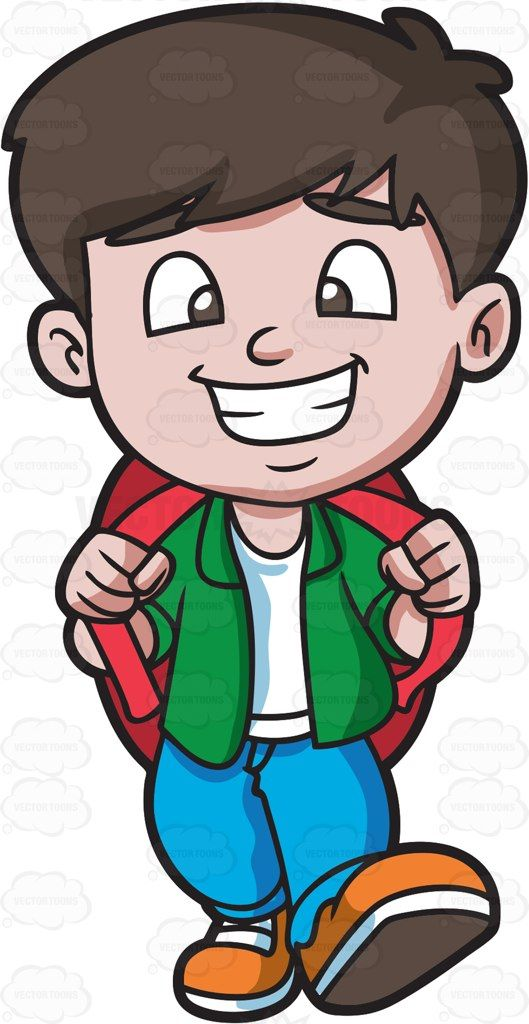 A happy boy going. Excited clipart delight