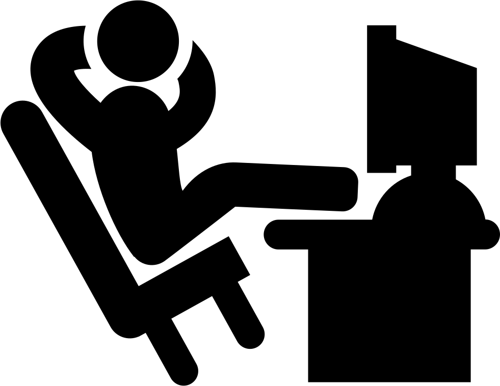 Excited clipart happy office worker. Comfortable with his legs
