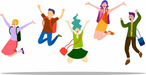 Excited clipart happy student. Icons emotion cartoon characters