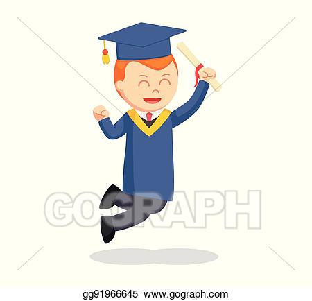 Graduate clipart excited. Vector stock male student
