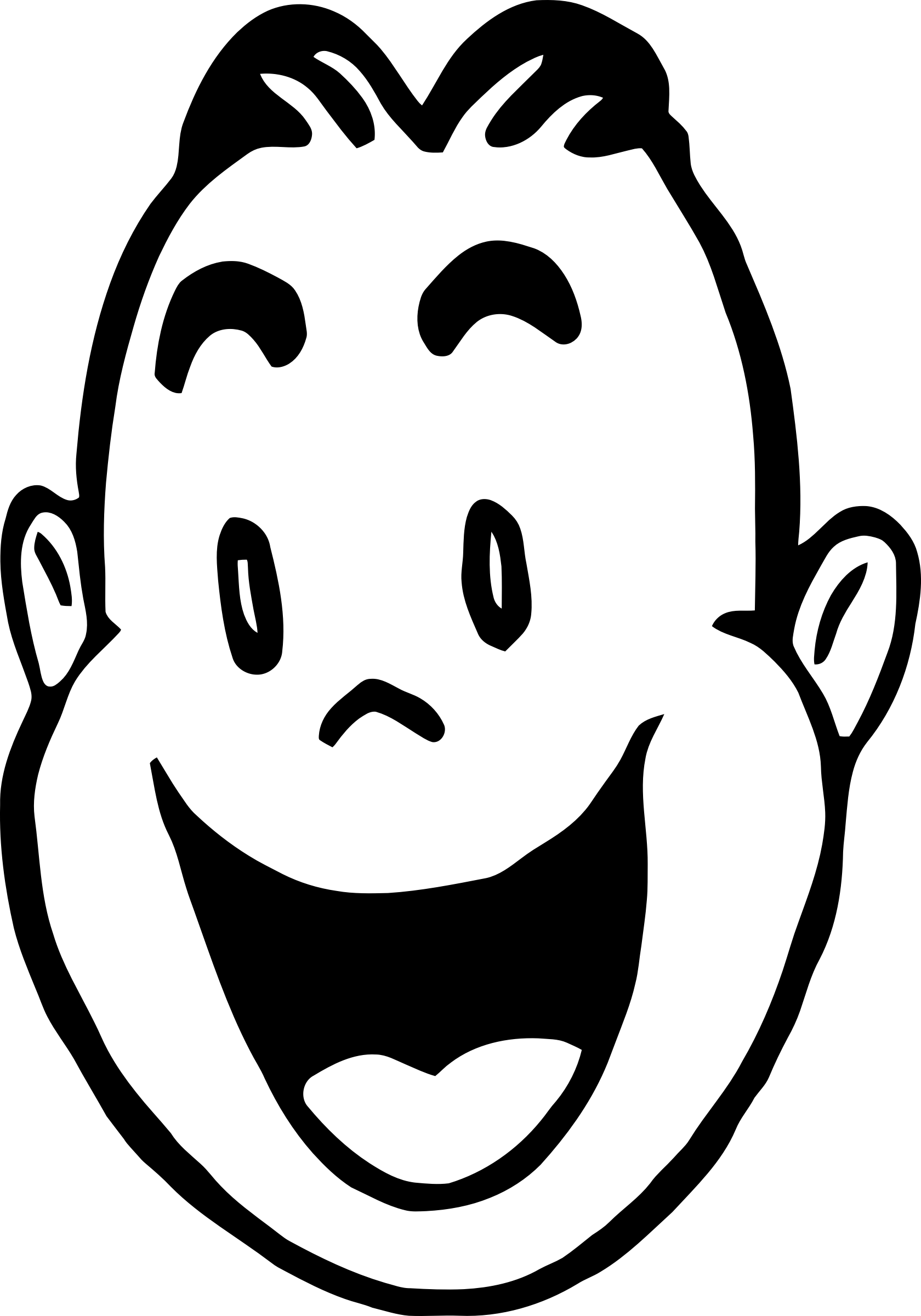 Amused man big image. Excited clipart line