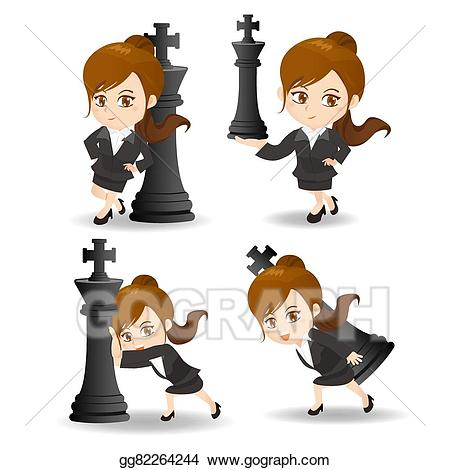 Vector illustration business woman. Excited clipart success team