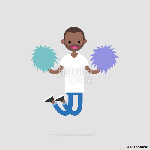 Cheerleader jumping with the. Excited clipart success team