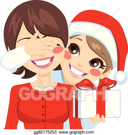 Vector illustration christmas daughter. Excited clipart surprise present