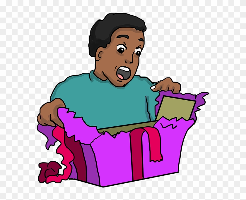 Excited clipart surprise present. Surprised face gift