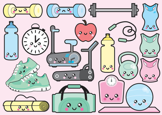 Premium vector kawaii workout. Gym clipart cute