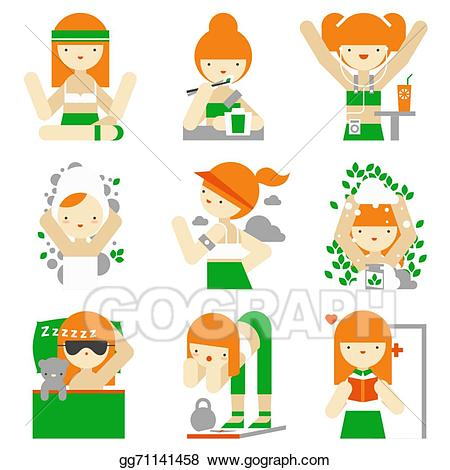 Eps vector healthy lifestyle. Exercising clipart everyday