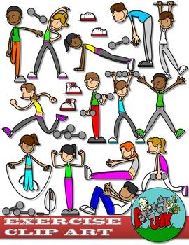 Exercise clipart exercise routine. Workout clip art set