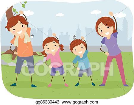 Exercise clipart family. Vector art stickman outdoor