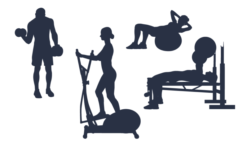 Silhouette clip art scalable. Exercise clipart fitness centre