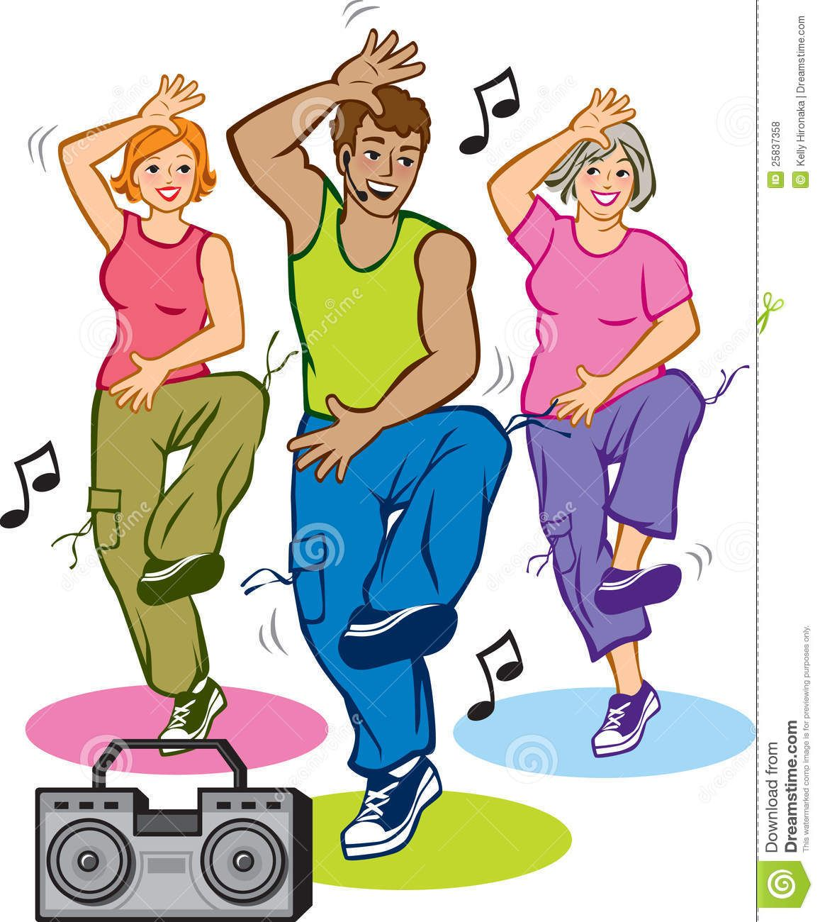 Exercising clipart fitness program. Danse vector illustration of
