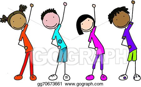 Vector kids illustration gg. Exercise clipart happy