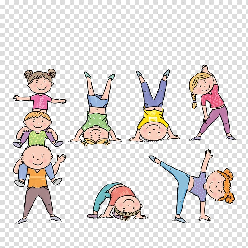 Exercise clipart preschool. Boy and girl illustrations