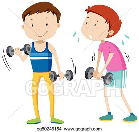 Vector illustration man and. Exercise clipart strong