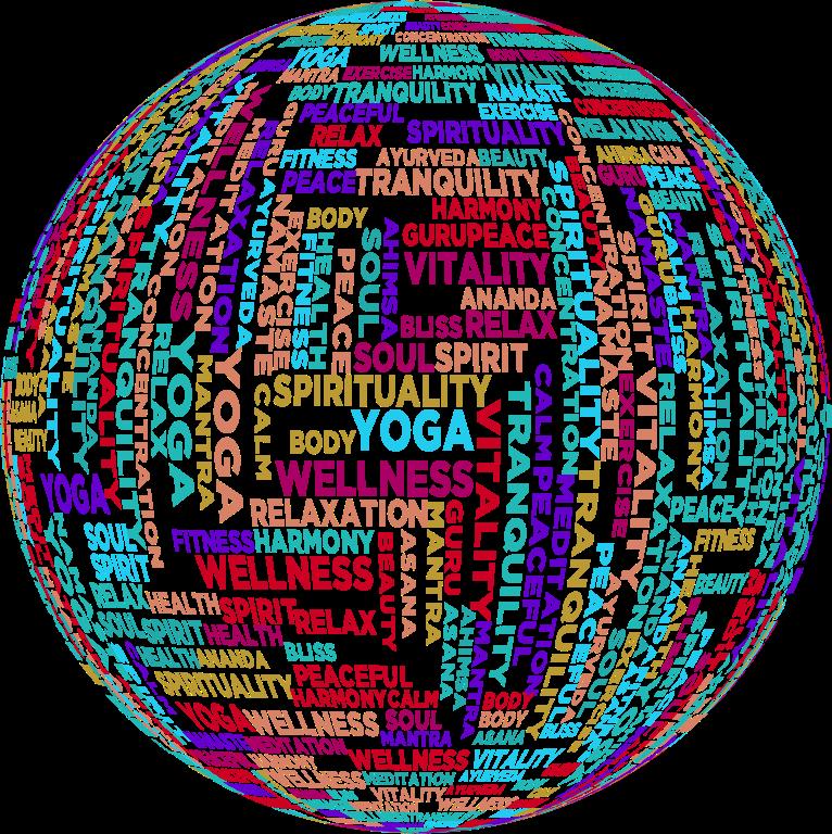 Exercise clipart word. Yoga cloud sphere medium
