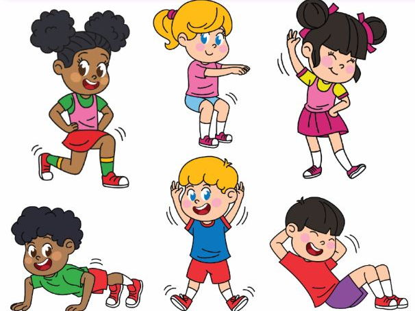 collection of kids. Exercise clipart strong