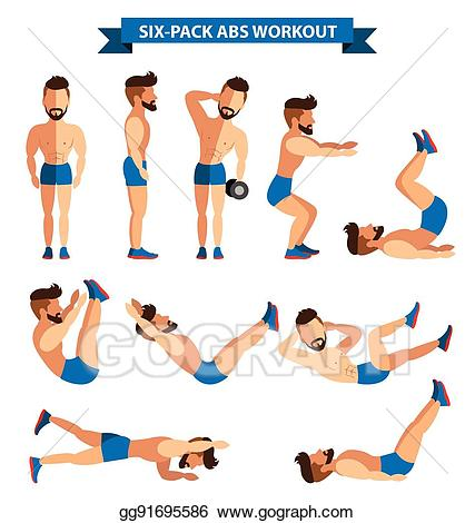 Eps illustration six pack. Exercising clipart ab workout
