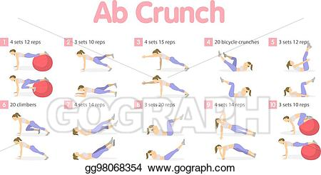 Exercising clipart ab workout. Vector stock abs set