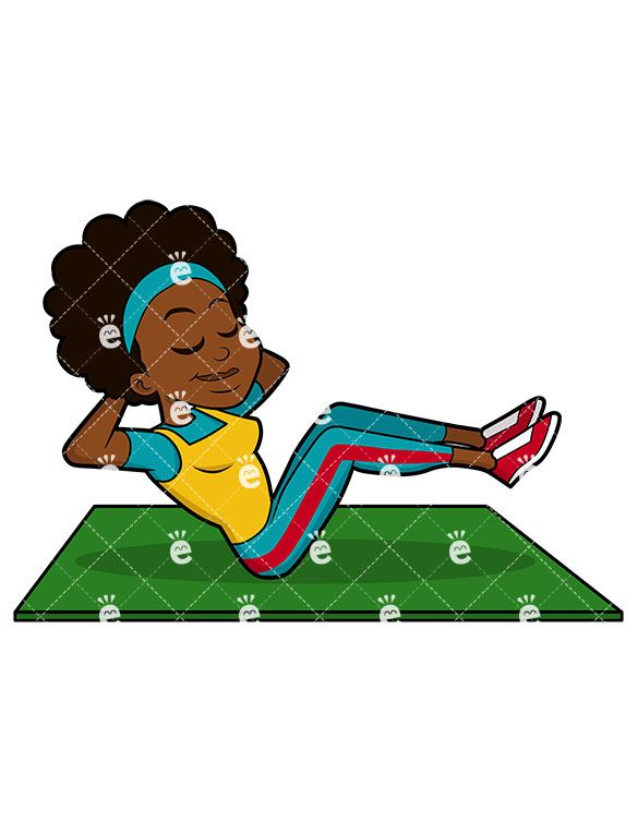 A black female her. Exercising clipart african american