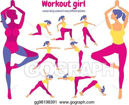 Vector art workout set. Exercising clipart body exercise