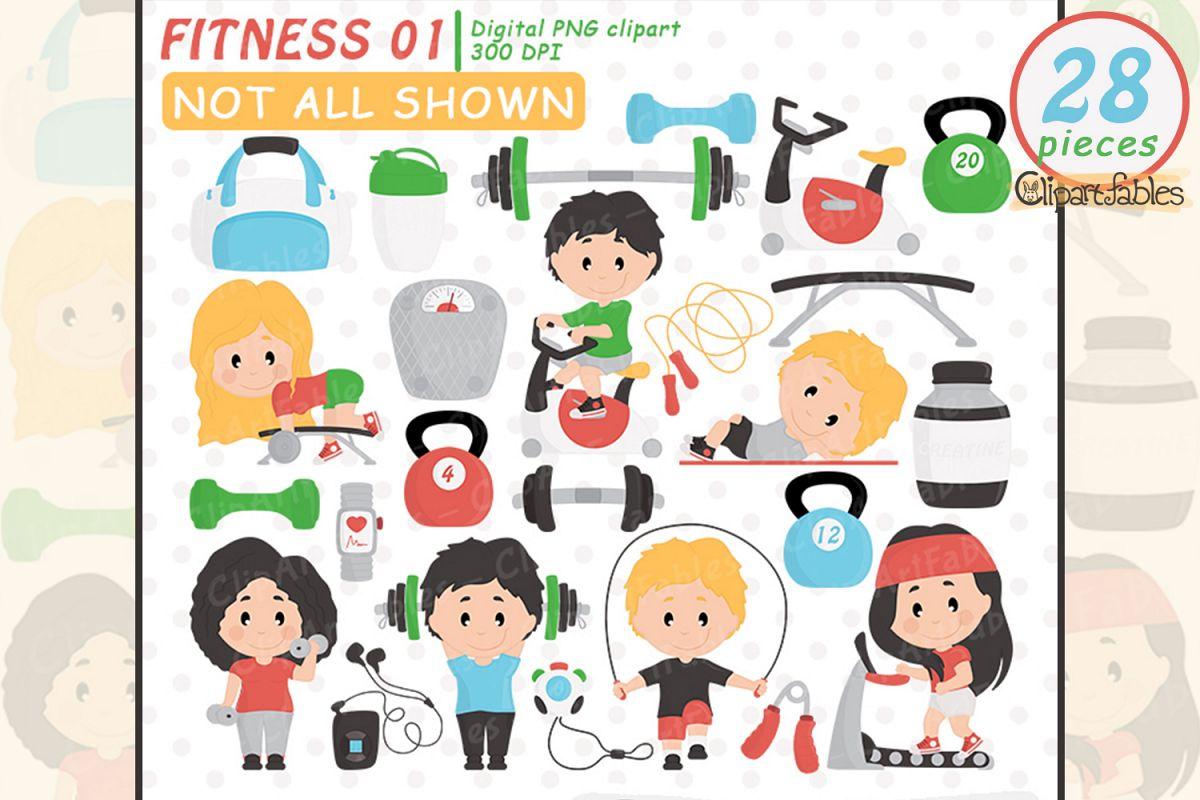 Fitness clipart cute. Gym clip art set