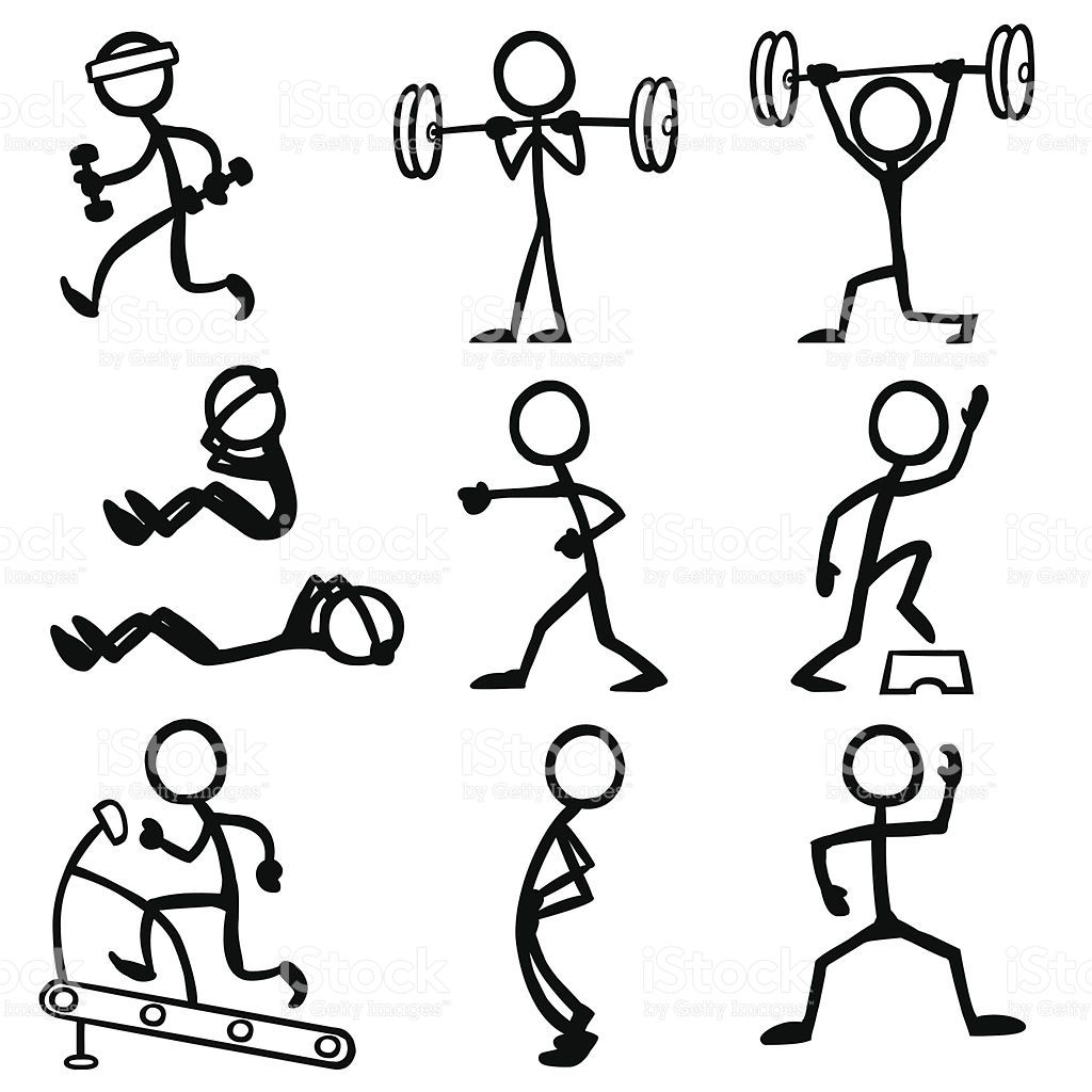 Exercising clipart drawing. Stickfigure doing fitness related