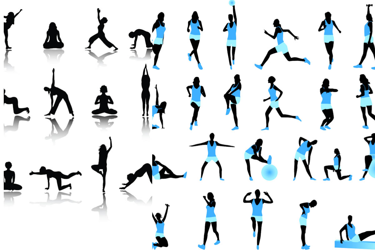 Free exercise silhouette cliparts. Exercising clipart excersie