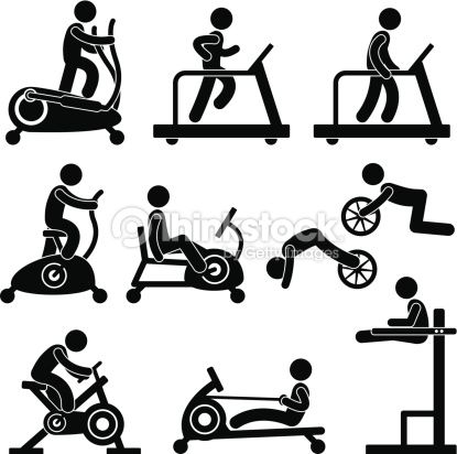 A set of pictogram. Exercising clipart exercise equipment