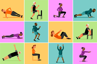 Short workouts well guides. Exercising clipart exercise science