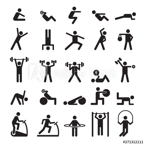 Exercising clipart exercise symbol. Fitness pictogram characters doing