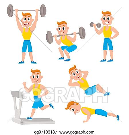 Vector illustration young man. Exercising clipart exercise training
