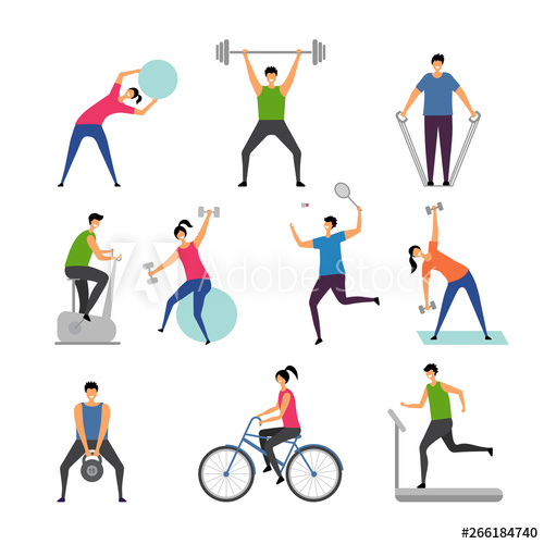 Exercising clipart exercise training. Sport activities characters outdoor