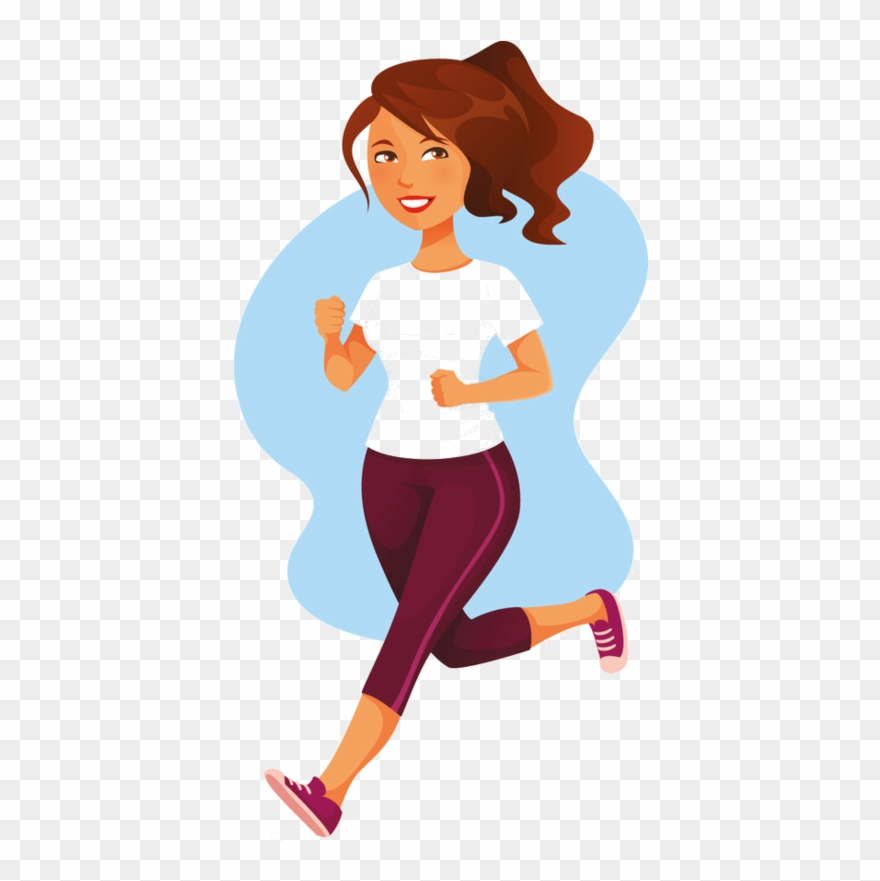 Fitness man woman running. Exercising clipart fit person