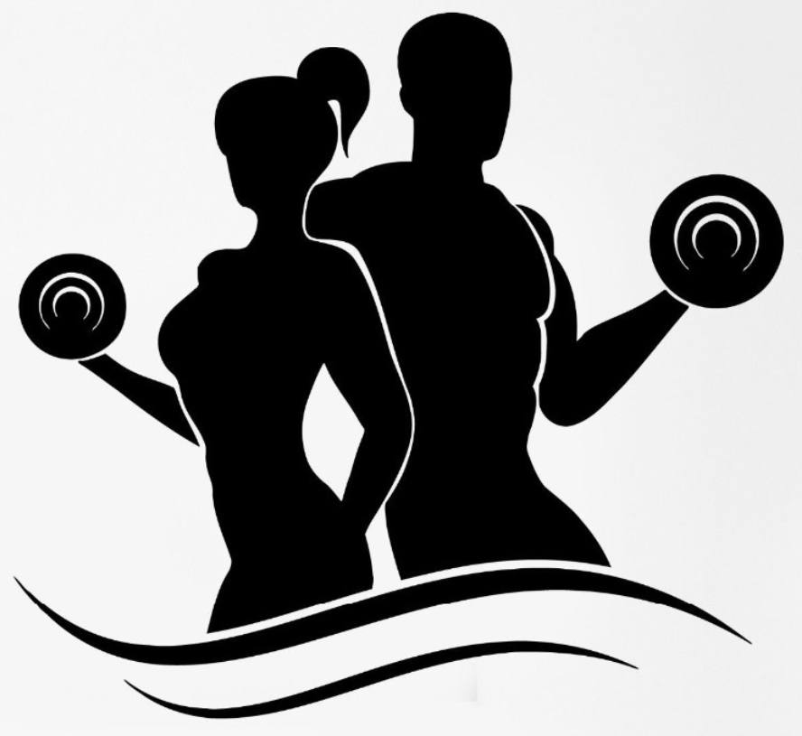 Exercising clipart fitness trainer. Cartoon exercise silhouette