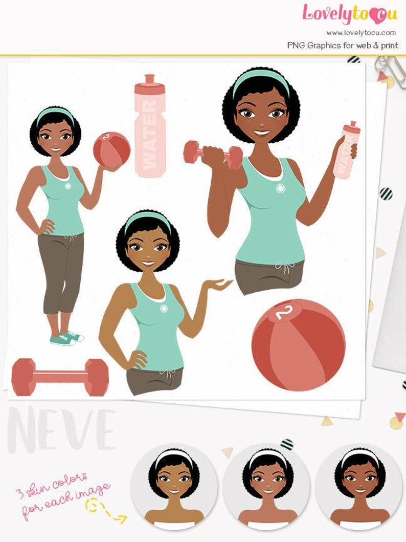 Exercising clipart girl exercise. Fitness woman character illustration