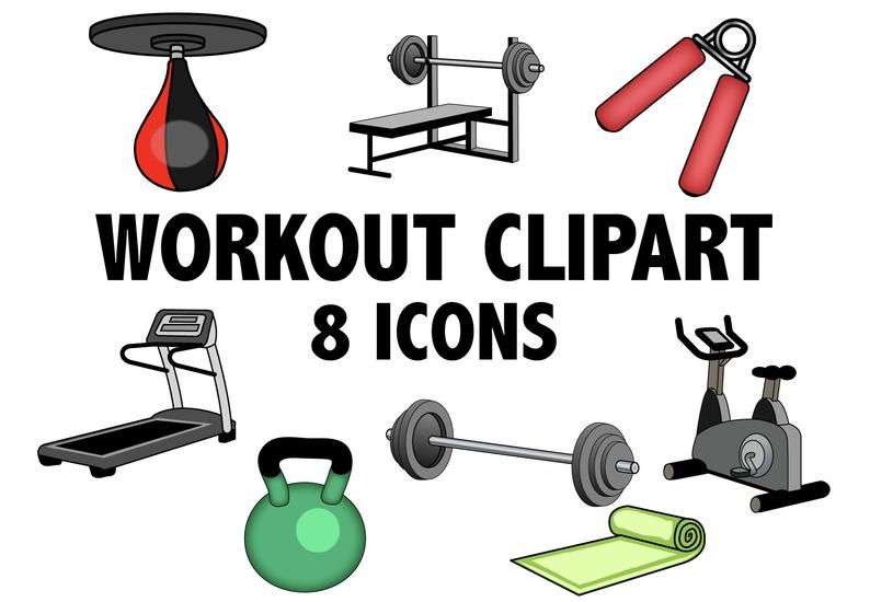 Workout and exercise icons. Exercising clipart gym