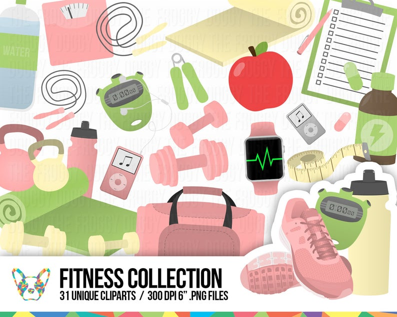 Fitness collection workout diet. Exercising clipart healthy living