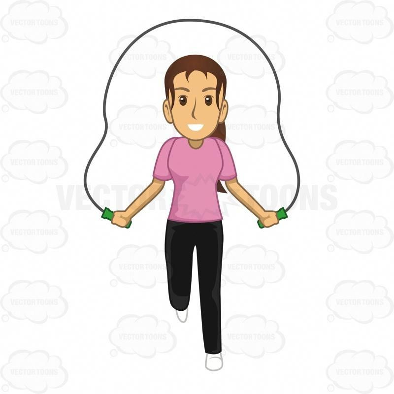 Woman exercising by jumping. Movement clipart gym activity