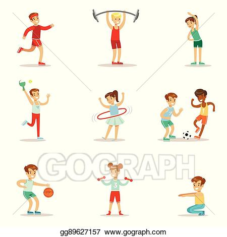 Vector art kids practicing. Exercising clipart physical education