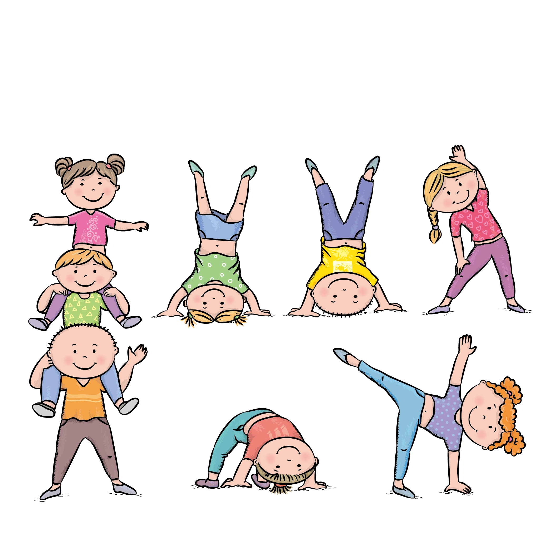 Exercise child stock illustration. Exercising clipart physical play