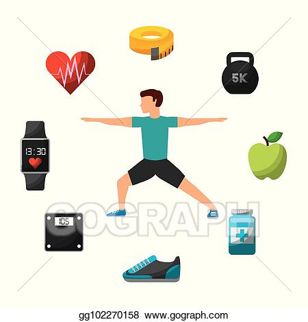 Exercising clipart proper exercise. Vector art people workout
